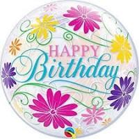 """Happy Birthday Flowers 22"""" Bubble"""