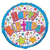 "Happy Birthday Stars And Confetti 18"" Foil Balloon"