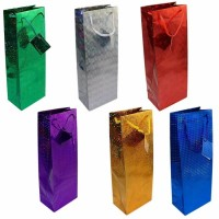 Assorted Colours Holographic Bottle Gift Bags 12ct