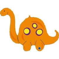 "Orange Brontosaurus 44"" Supershape Foil Balloon"