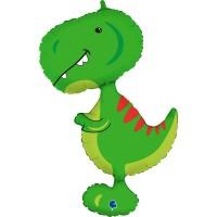 """Green Tyrannosaurus 38"""" Supershape Foil Balloon"""