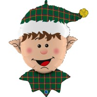 "Elf Head With Tartan Hat 32"" Supershape Foil Balloon"