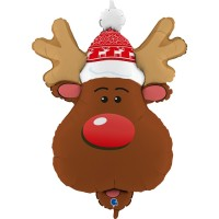 "Smiley Reindeer Head 34"" Foil Balloon"