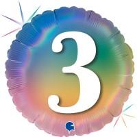 """3 Colourful Rainbow 18"""" Foil Balloon"""