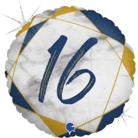 "16 Marble Mate Happy Birthday Blue 18"" Foil Balloon"