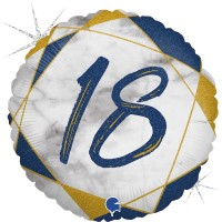 "18 Marble Mate Happy Birthday Blue 18"" Foil Balloon"