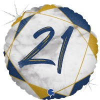 "21 Marble Mate Happy Birthday Blue 18"" Foil Balloon"