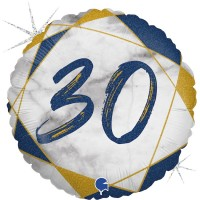 "30 Marble Mate Happy Birthday Blue 18"" Foil Balloon"