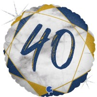 "40 Marble Mate Happy Birthday Blue 18"" Foil Balloon"