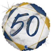 "50 Marble Mate Happy Birthday Blue 18"" Foil Balloon"