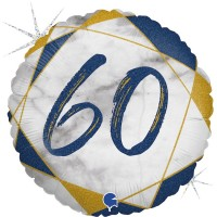 "60 Marble Mate Happy Birthday Blue 18"" Foil Balloon"
