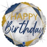 "Marble Mate Happy Birthday Blue18"" Foil Balloon"