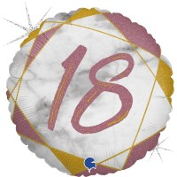 "18 Marble Mate Happy Birthday Rose Gold 18"" Foil Balloon"