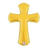 """Gold Cross 44"""" Foil Balloon"""