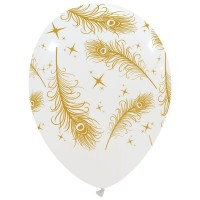 """Gold Feathers on White Latex 12"""" Balloons 25Ct"""