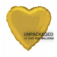"Gold - Heart Shape - 18"" foil balloon (Pack of 12, Flat)"
