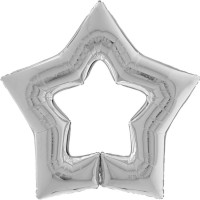 "Silver Star Shaped Linkable 48"" GRABO Foil Balloon (Unpackaged)"