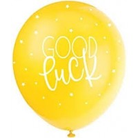 "Good Luck  5CT 12"" Helium Fill Latex Balloon- Pearlized Assorted Colours, Printed All Around - 5ct"