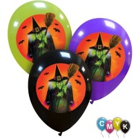 """Halloween Witch 12"""" Latex Balloons 25Ct Full Colour Printed 1 Side"""