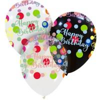 "Happy Birthday Colourful Dots Superior 13"" Latex Balloon 50Ct"