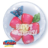 "Happy Birthday - Leaves & Flower - 24"" Double Bubble"