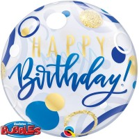"Happy Birthday Blue and Gold Dots 22"" Bubble"