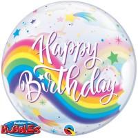"Happy Birthday Rainbow Unicorn 22"" Bubble"