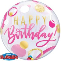 "Happy Birthday Pink and Gold Dots 22"" Bubble"