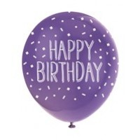 "Happy Birthday Pink Assortment  5CT 12"" Helium Fill Latex Balloon- Pearlized Assorted Colours, Printed All Around - 5ct"