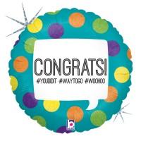 """Hashtag Congrats 18"""" Foil Balloon"""