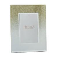 """Glass Gold Glitter Photo Frame 5""""X7"""""""