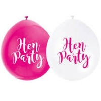 """Hen Party 9"""" Latex Air Fill Balloon - Assorted Colours, Printed 1 Side - 10ct."""