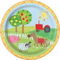 "Farm Party 7"" plates 8ct"