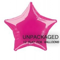 "Hot Pink - Star Shape - 20"" foil balloon (Pack of 12, Flat)"