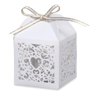 Favour Box Lazer Heart 50 x 50 x 75mm White - 10 per pack