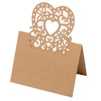 Place Card Lazer Heart 80 x 120mm Kraft Brown - 10 per pack