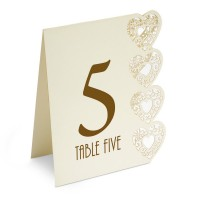 Table Numbers 1-15 Lazer Heart 125 x 155 x 40mm Ivory - 15 per pack