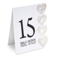 Table Numbers 1-15 Lazer Heart 125 x 155 x 40mm White - 15 per pack