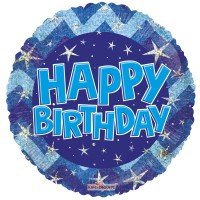 "Blue and Silver Happy Birthday 18"" Foil Balloon"