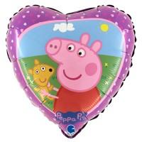 "Peppa Pig Heart 18"" Foil Balloon"