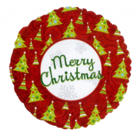 "Green And Red Merry Christmas 18"" Foil Balloon"