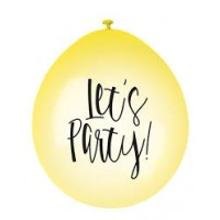 "Lets Party 9"" Latex Air Fill Balloon - Assorted Colours, Printed 1 Side - 10ct."