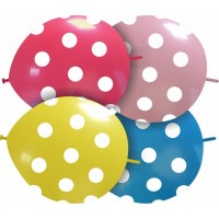 "Polka Dots12"" Latex Link Balloons 25ct"