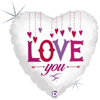 """Love You Hanging Hearts 18"""" Foil Balloon"""