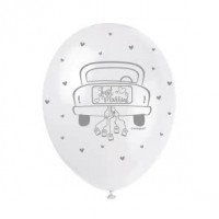 "Just Married  5CT 12"" Helium Fill Latex Balloon- Pearlized Assorted Colours, Printed All Around - 5ct"