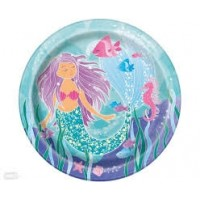 "Mermaid Party 9"" Round  Plates  8 Ct"