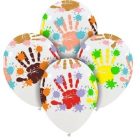 """Messy Hands Colour 12"""" Superior Latex Balloons 25Ct"""