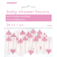 Mini Plastic Pink Baby  Bottles - 24ct