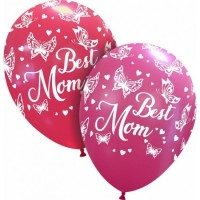 "Superior 12"" 'Best Mom' Pink and Red 50ct Latex"