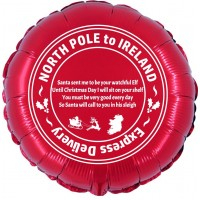 """North Pole to Ireland 18"""" Foil Balloon UNPACKAGED (Printed 2 Sides)"""